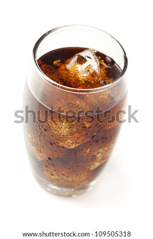 Refreshing Brown Soda with Ice on a background - stock photo