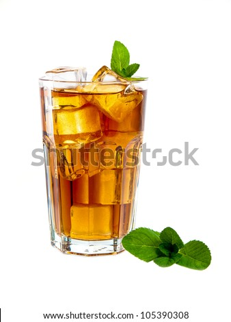 Refreshing cocktail with coke and mint - stock photo