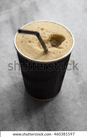 Refreshing cold frappe coffee, close up photo