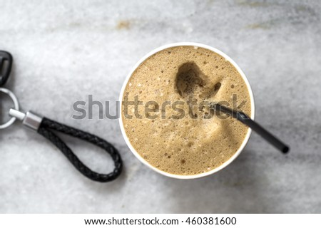 Refreshing cold frappe coffee, from above