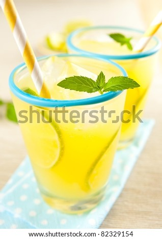 Refreshing Cold Lemonade with Mint and Lime Slices - stock photo
