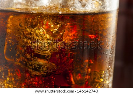 Refreshing Ice Cold Soda Pop in a Glass - stock photo
