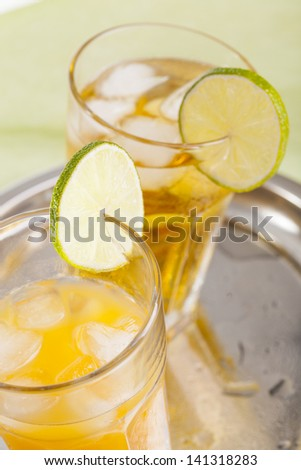 refreshing ice cold summer drinks home made lemonade and orange juice on white background