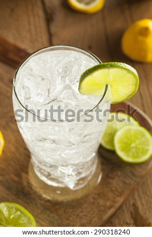 Refreshing Lemon and Lime Soda in a Glass - stock photo