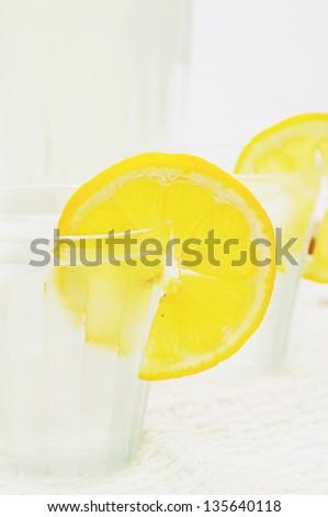 refreshing lemonade in a glass - stock photo