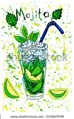 Refreshing mojito cocktail, lime, ice and green mint leaves. Hand drawn colorful watercolor illustration. - stock photo