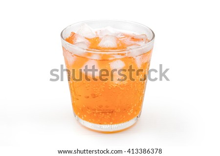 Refreshing Orange Soda with Ice in a glass isolated on white background - stock photo