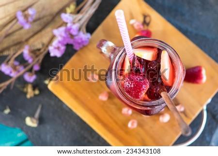 Refreshing sangria mix fruits - stock photo