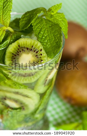 Refreshing Summer Drinks. Drink with Kiwi. Selective focus. - stock photo