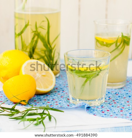 Refreshing Tarragon Drink, Sparkling Herb Lemonade, square