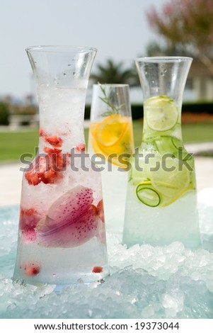 refreshing water with flavor - stock photo
