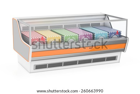 Refrigerated display case with pizza - stock photo