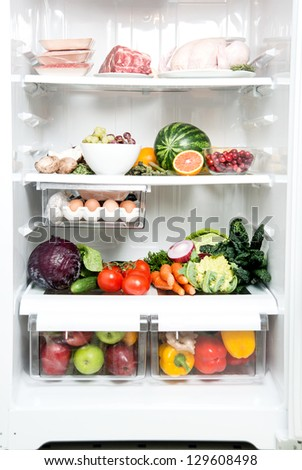 Refrigerator Full of Healthy Food Options - stock photo