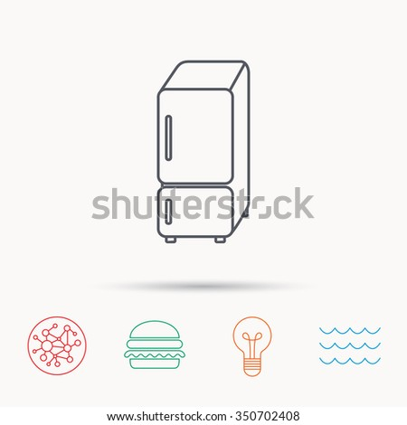 Refrigerator icon. Fridge sign. Global connect network, ocean wave and burger icons. Lightbulb lamp symbol. - stock photo