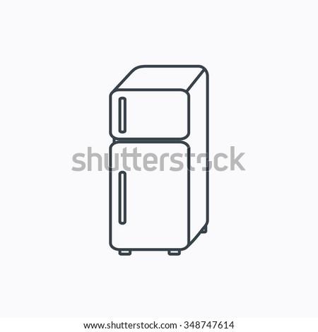 Refrigerator icon. Fridge sign. Linear outline icon on white background.  - stock photo