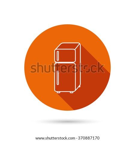 Refrigerator icon. Fridge sign. Round orange web button with shadow. - stock photo