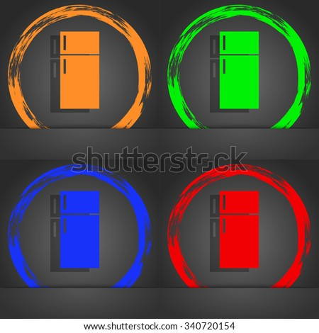 Refrigerator icon sign. Fashionable modern style. In the orange, green, blue, red design. illustration - stock photo