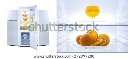 Refrigerator,  modern stylish design. Interior, inside  image, glass shelf, oranges, cocktail, jelly bean, clean, light, web banner, three refrigerators, collage - stock photo