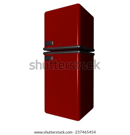 Refrigerator old style isolated over white, 3d render - stock photo