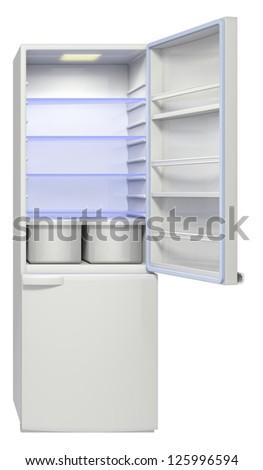 refrigerator on a white background - stock photo