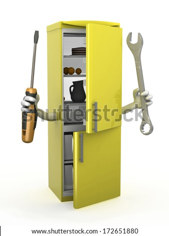 refrigerator with arms and tools on hands, 3d illustration - stock photo