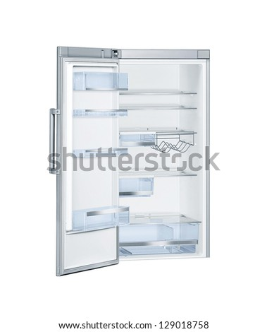 Refrigerator with open doors isolated - stock photo
