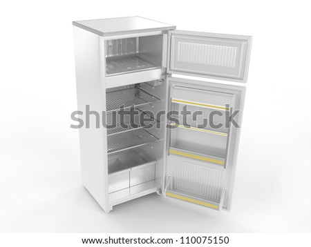 Refrigerator with open doors isolated on white background, 3D image - stock photo