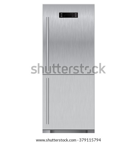 Refrigerator with scratched texture. illustration isolated on white background. Raster version - stock photo