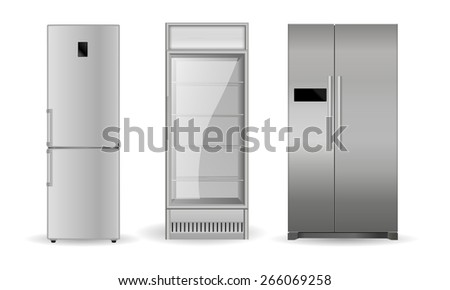 Refrigerators: silver, with two doors and glass door .  Isolated on white background. Raster version - stock photo