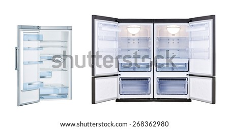 Refrigerators with open doors isolated - stock photo