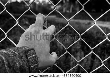 refugee of barbed wire (Black and white) - stock photo