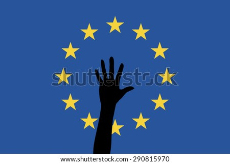 Refugees in the EU. Symbol for the increasing arrivals of asylum seekers and refugees in Europe  - stock photo