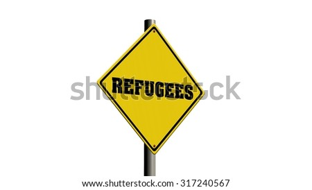 Refugees Road sign isolated on white background
