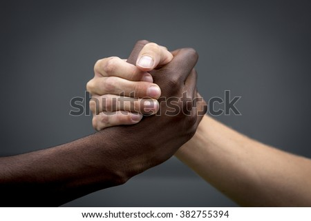 refugees welcome, handshake