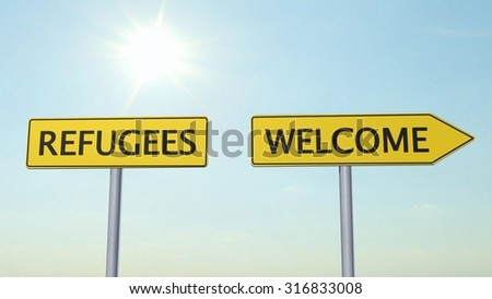 Refugees Welcome Signpost