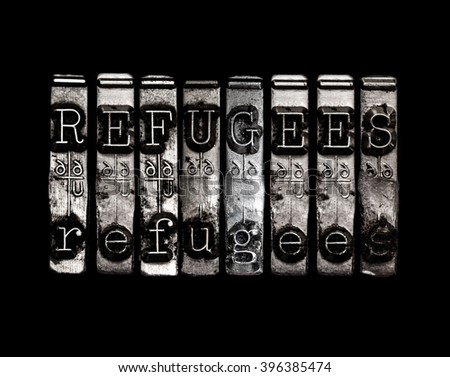 Refugees word concept - stock photo