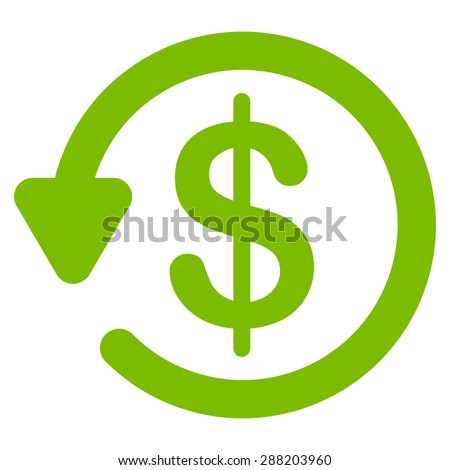 Refund icon from Business Bicolor Set. This flat raster symbol uses eco green color, rounded angles, and isolated on a white background. - stock photo