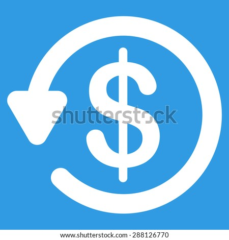 Refund icon from Business Bicolor Set. This flat raster symbol uses white color, rounded angles, and isolated on a blue background. - stock photo