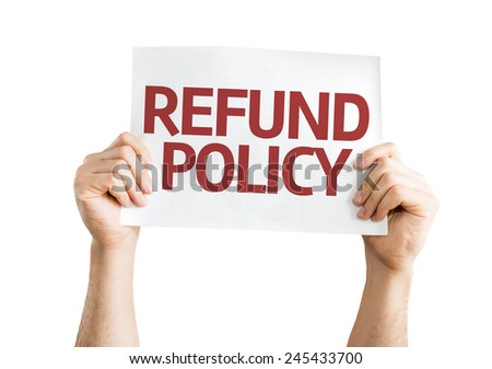 Refund Policy card isolated on white background - stock photo