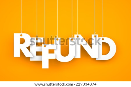 Refund. Text on the ropes - stock photo