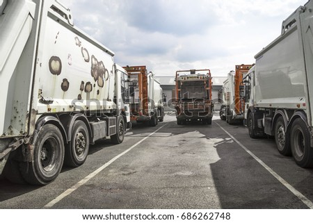 Refuse lorries in compound at Huddersfield, West Yorkshire, UK, 22 July, 2016