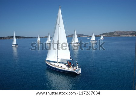 Regatta on the sea - stock photo