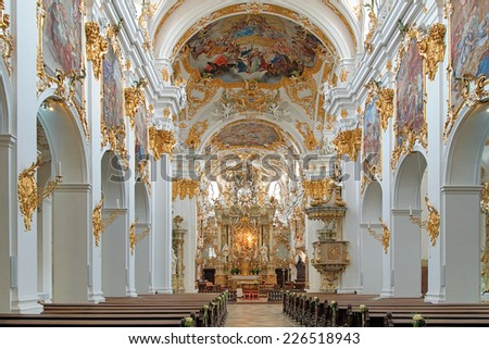REGENSBURG, GERMANY - SEPTEMBER 27, 2013: Interior of Old Chapel (Alte Kapelle). The interior was made in 1747, and now the Old Chapel is the most important building of the Bavarian Rococo style.