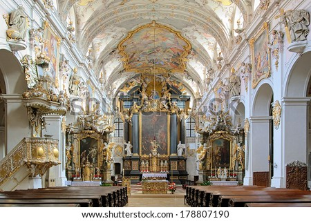 REGENSBURG, GERMANY - SEPTEMBER 27, 2013: Interior of St. Emmeram's Basilica. The interior was made in 1731-1733 by Asam brothers, the most important representatives of the German late Baroque. - stock photo