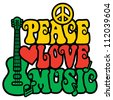 Reggae Peace Love Music design with guitar, peace symbol, heart and musical notes in Rasta colors. - stock vector