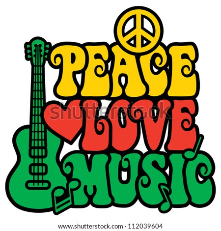Reggae Peace Love Music design with guitar, peace symbol, heart and musical notes in Rasta colors. - stock photo