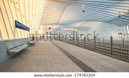 REGGIO EMILIA, ITALY - January 25, 2014: Mediopadana High Speed Train Station. It is designed by architect Santiago Calatrava and composed of 457 steel frames. It was inaugurated on June 8, 2013.