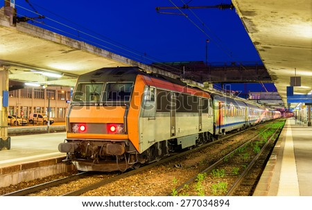 Regional express train at Mulhouse station - France - stock photo