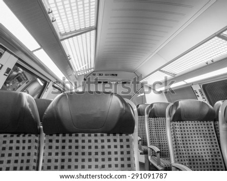 Regional train interior in Saxony Germany Europe in black and white