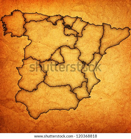regions of spain on administration map with borders - stock photo